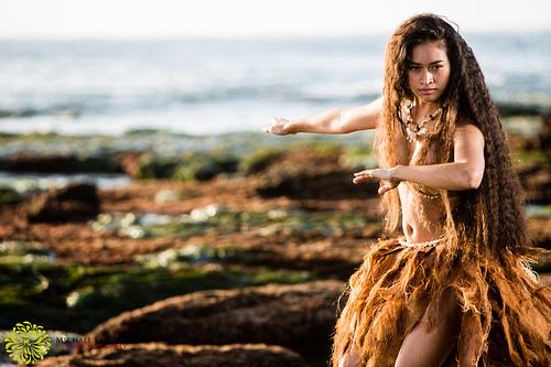 Intense Polynesian dancer