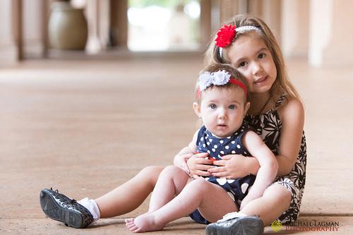 Both Alegra and Lyric at Balboa Park taking their family photos.
