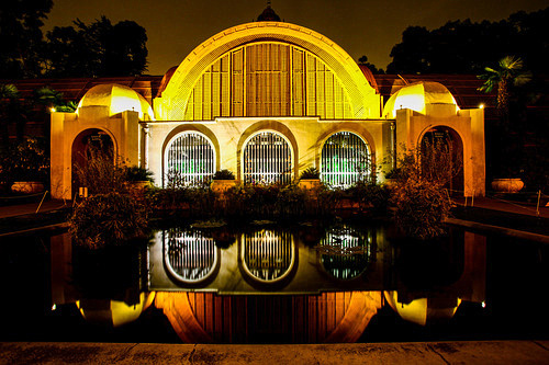 Botanical garden reflection at night. Camera EXIF 16mm 8 seconds at f 8 ISO 50