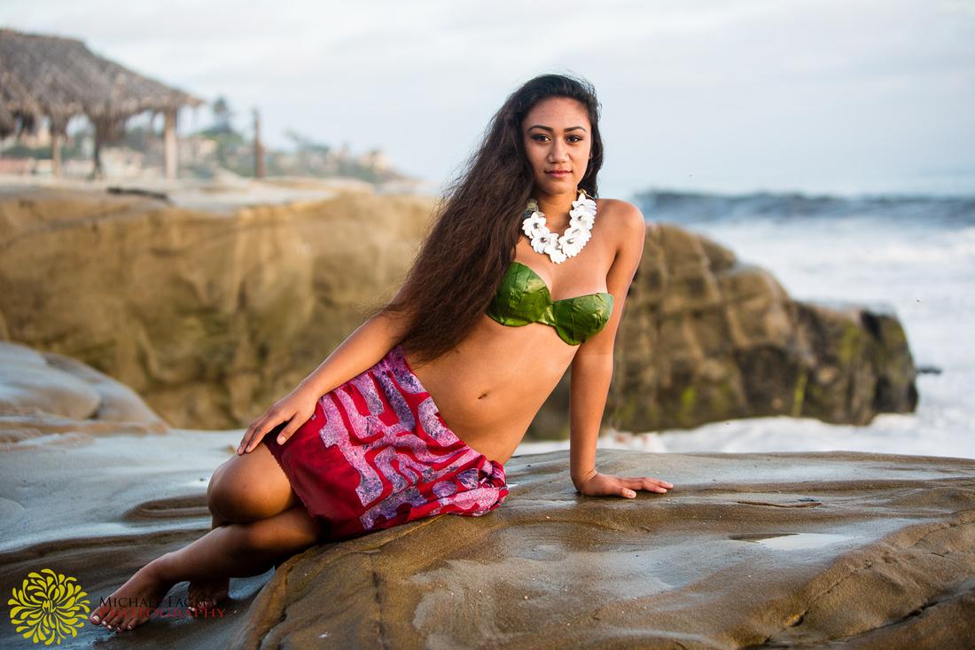 Photo shoot at La Jolla, Tahiti inspired, Hula, Hawaiian, Tahitian, San Diego, La Jolla