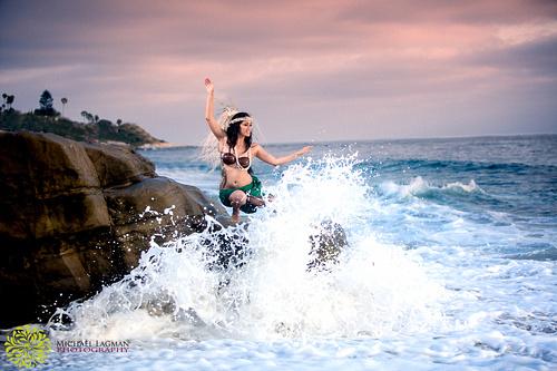 Waves crashing around Brianna
