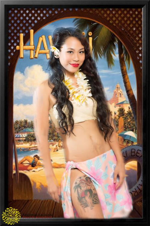 Modern Pinup with hula girl tatoo