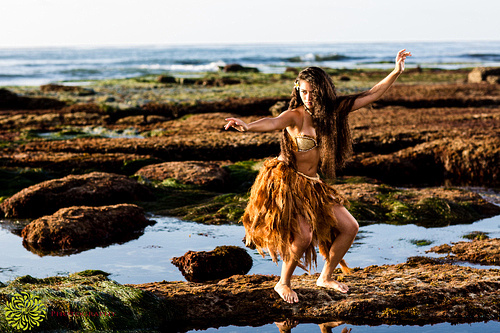 La Jolla shoreline with a Polynesian Dancer