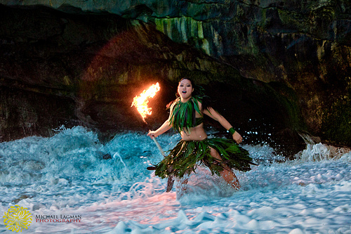 Fire and Knife dancer Janelle on the beach...